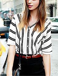 Women's Striped Blue / Pink / Black Shirt,V Neck Short Sleeve