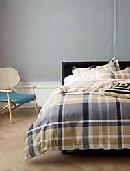 Plaid Cotton 4 Piece Duvet Cover Sets
