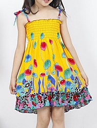 Girl's Orange / Pink / Red / Yellow Dress,Floral Cotton Summer