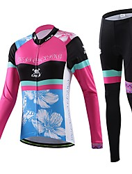 Cycling Jersey with Tights Women's / Men's / Unisex Long SleeveBreathable / Quick Dry / Wearable / Compression / 3D Pad / Back Pocket /