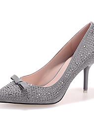 Damen-High Heels-Lässig-Vlies-Stöckelabsatz-Komfort-Schwarz / Grau