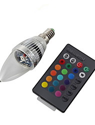 YouOKLight® E14 3W Remote Controlled LED Candle Bulb Colorful Light  200-250lm - Silver (AC 110-120V/220-240V)