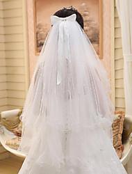 Véus de Noiva Duas Camadas Véu Cotovelo Corte da borda / Borda Lápis Tule Bege