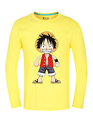 Inspired by One Piece Monkey D. Luffy Anime Cosplay Costumes Cosplay Tops/Bottoms Print Yellow Long Sleeve Top