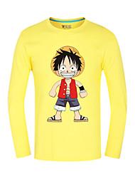 Inspiré par One Piece Monkey D. Luffy Anime Costumes de cosplay Tops Cosplay / Bas Imprimé Jaune Manche Longues Top