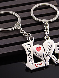 A Pair Fashion Heart Key Chain Love Letter Couple Keychain Ring Holder For Lovers Gift