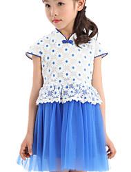 Girl's Dress,Cotton / Polyester Summer Blue / Pink / Yellow
