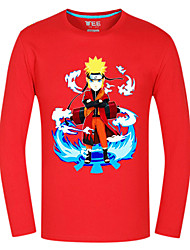 Inspirado por Naruto Naruto Uzumaki Animé Disfraces de cosplay Tops Bottoms Cosplay Estampado Rojo Manga Larga Top