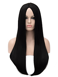 Long Length Black Color Straight Hair European Weave Synthetic Wig