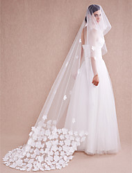 Wedding Veil One-tier Cathedral Veils Flower  Applique Edge