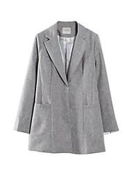 Women's Solid White / Black / Gray Coat,Simple Long Sleeve Nylon