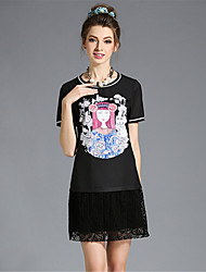 élégante impression dentelle patchwork taille plus partie de aofuli millésime femmes / robe quotidienne