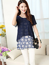 Women's Print Blue / Pink Blouse,Round Neck Short Sleeve