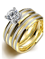 Ring,Steel AAA Cubic Zirconia Round Fashion Wedding / Party / Daily / Casual Jewelry Zircon / Titanium Steel Women / Couples Couple Rings