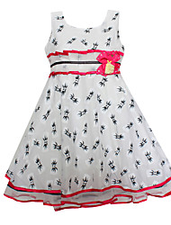 Girl's Bow Flower Print Tulle Lovely Party Pageant Birthday Baby Children Clothes Dresses