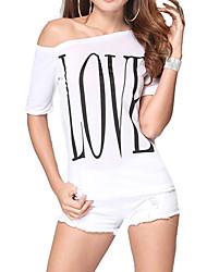 Damen Druck Einfach Lässig/Alltäglich T-shirt,Rundhalsausschnitt Sommer Kurzarm Beige Baumwolle Dünn