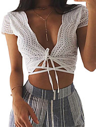 Women Crop Top Hollow Out Vest Embroidered Plunge V Neck Self-tie Strap Cap Sleeve Waistcoat