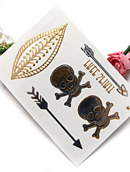 1PC High-End Hot Stamping Iron Silver Waterproof Metal Tattoo Stickers