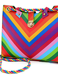 Women Shoulder Bag PU Sling Bag Zipper Rainbow