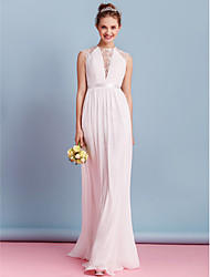 Sheath / Column High Neck Sweep / Brush Train Chiffon Wedding Dress with Lace Sash / Ribbon Bow Draped by LAN TING BRIDE®