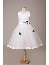 LAN TING BRIDE Ball Gown Short / Mini Flower Girl Dress - Lace Satin Tulle Jewel with Flower(s) Sash / Ribbon