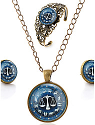 Lureme® Time Gem The Zodiac Series Vintage Libra Pendant Necklace Stud Earrings Hollow Flower Bangle Jewelry Sets