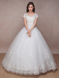 Princess Wedding Dress Lacy Look Floor-length V-neck Lace Organza with Beading Lace