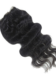 "Top Quality Remy Virgin Human Hair Silk Closures 120% 1B Black 4*4 Inch Free Part Body Wave Silk Base Closure 10""-20"""