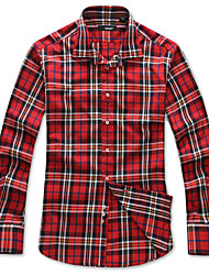 Lesmart Herren Hemdkragen Lange Ärmel Shirt & Bluse Rot - SW14168