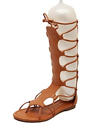 Women's Shoes PU Flat Heel Gladiator Sandals Dress / Casual Black / Brown