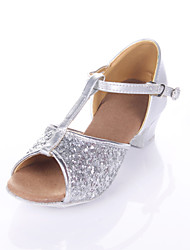 Non Customizable Women's/Kids' Dance Shoes Latin / Ballroom Sparkling Glitter Chunky Heel 3.5cm Heel Height Silver/Gold