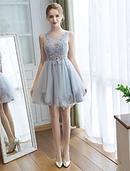 Knee-length Lace / Tulle Bridesmaid Dress A-line Scoop with Flower(s)