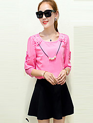 Women's Solid Blue / Pink / Yellow Blouse,Round Neck ½ Length Sleeve