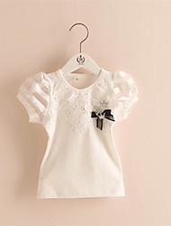 Tee-shirts Fille de Mosaïque Décontracté / Quotidien Coton Eté Rose / Blanc