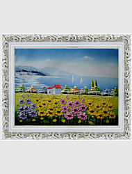 Hand-Painted Landscape / Floral/Botanical European Style Oil Painting,Canvas One Panel