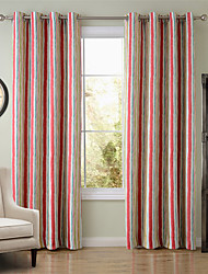Chadmade SOFITEL Vertical Stripe  Pattern - Nickle Grommet - Red + Green