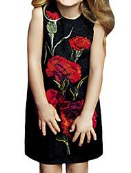 Vestido Chica de-Verano / Primavera-Algodón-Negro