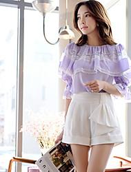 DABUWAWA® Feminino Cintura Alta Shorts Preta / Branco Wear to work Calças-D15ASP064