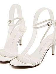 Women's Shoes Leatherette Stiletto Heel Heels Sandals Party & Evening White / Gold