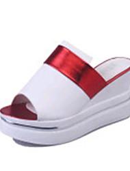 Mujer-Plataforma-ZapatillasExterior / Vestido / Casual-PU-Negro / Rojo / Plata