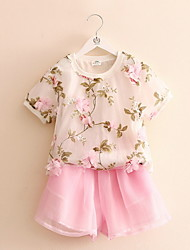 BK  (2 PCS) Girl's Pink Clothing Set Floral Summer T-shirt + Pants