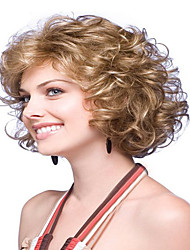 Women's Fashionable Blonde Brown Mixed color Medium Length Curly Wigs