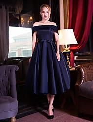 Cocktail Party Dress-Dark Navy A-line Off-the-shoulder Tea-length Taffeta / Stretch Satin