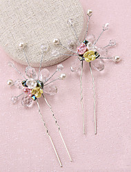 Women's / Flower Girl's Crystal / Alloy / Imitation Pearl / Resin Headpiece-Wedding / Special Occasion Hair Pin 2 Pieces