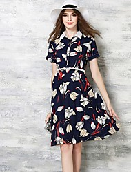 Women's Casual/Daily Street chic Sheath Dress,Floral Shirt Collar Knee-length Short Sleeve Multi-color Polyester Summer