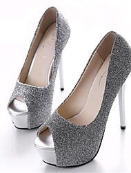 Women's Shoes Leatherette Stiletto Heel Heels / Peep Toe Heels Wedding / Party & Evening Black / Silver