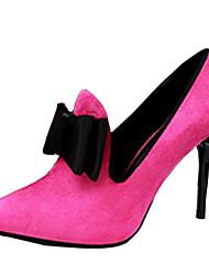 Damen High Heels Vlies Sommer Normal Schleife Stöckelabsatz Schwarz Grau Fuchsia Rot Rosa 7,5 - 9,5 cm