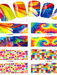 8pcs  Nail Art Water Transfer Stickers Colorful Abstractive Image Fashion C204-207
