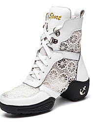 Women's Dance Shoes Boots Leather+Lace Split Sole Low Heel Black/White