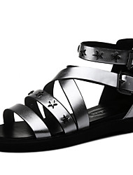 Women's Shoes Synthetic Flat Heel Peep Toe Sandals Wedding / Office & Career / Dress / Casual Black / Silver